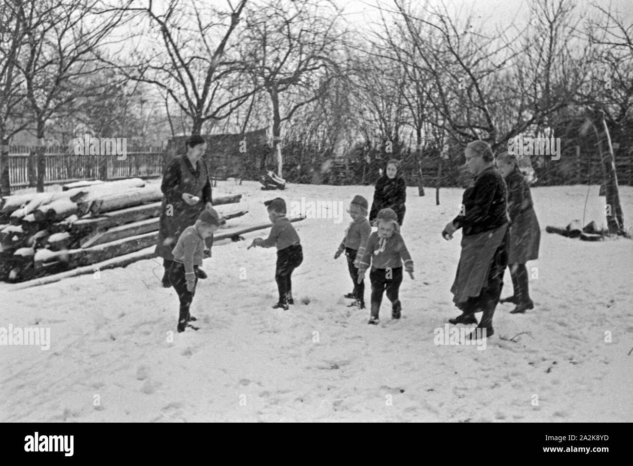 Snowball Fight Children Black And White Stock Photos