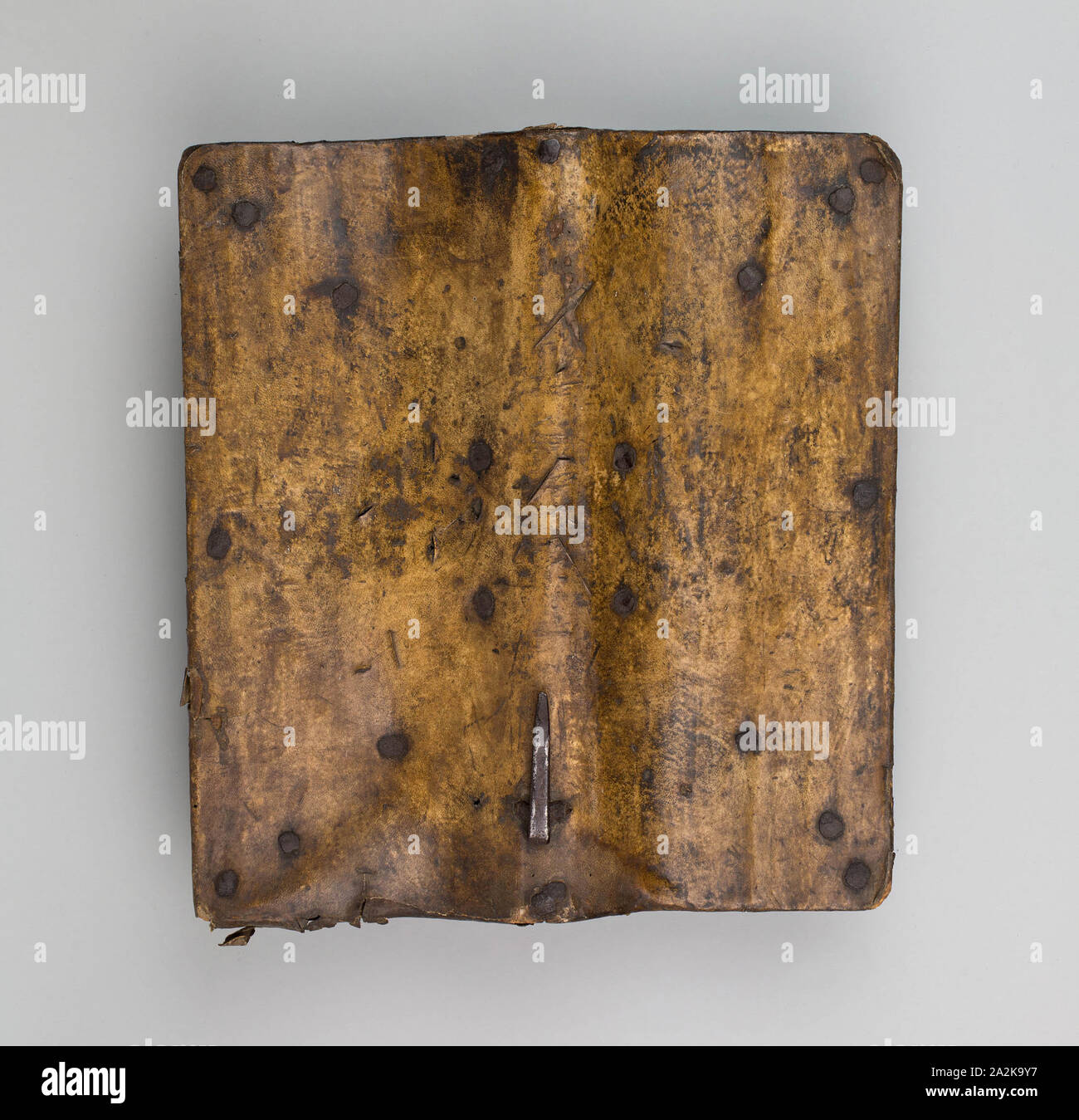 Buckler (Targa), 1550/75, Italian, Italy, Wood, parchment, and iron, 36.8 x 33.9 cm (14 1/2 x 13 1/4 in Stock Photo