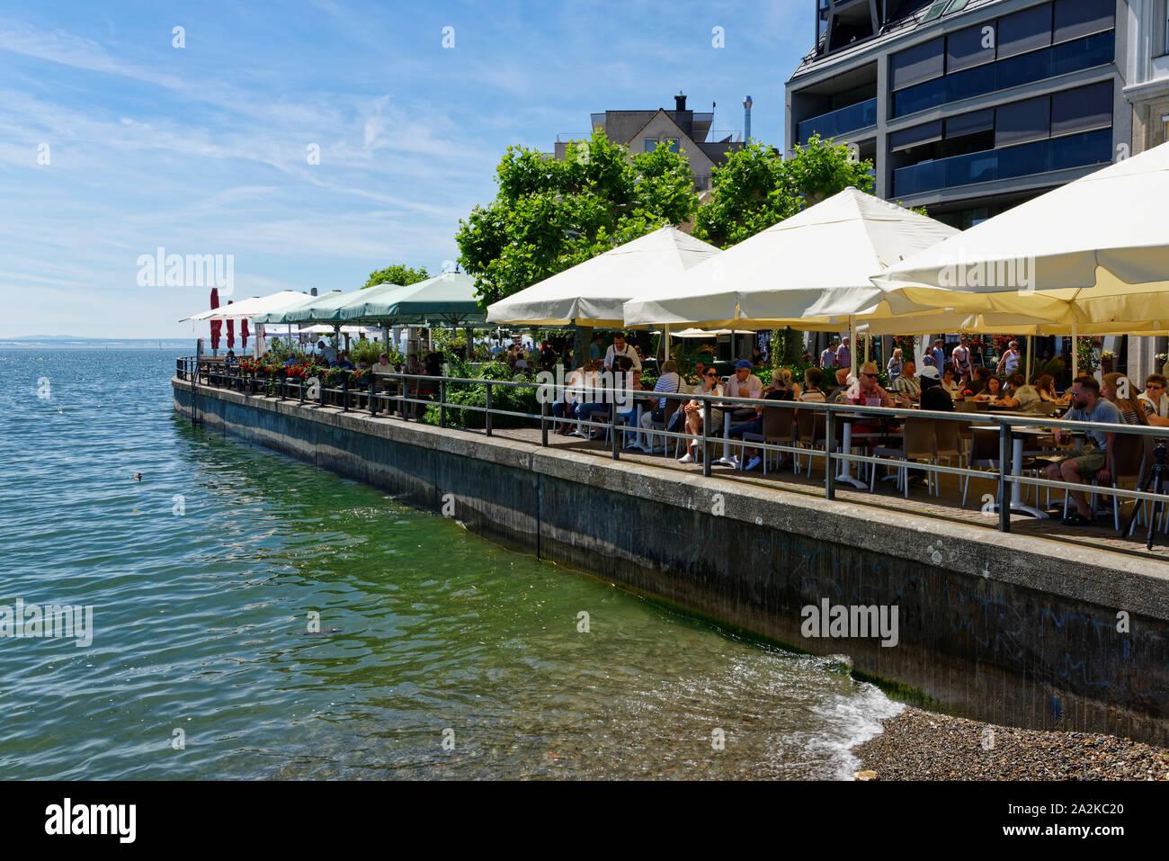 Lakeside promenade in Friedrichshafen on Lake Constance, Baden-Württemberg, Germany Stock Photo
