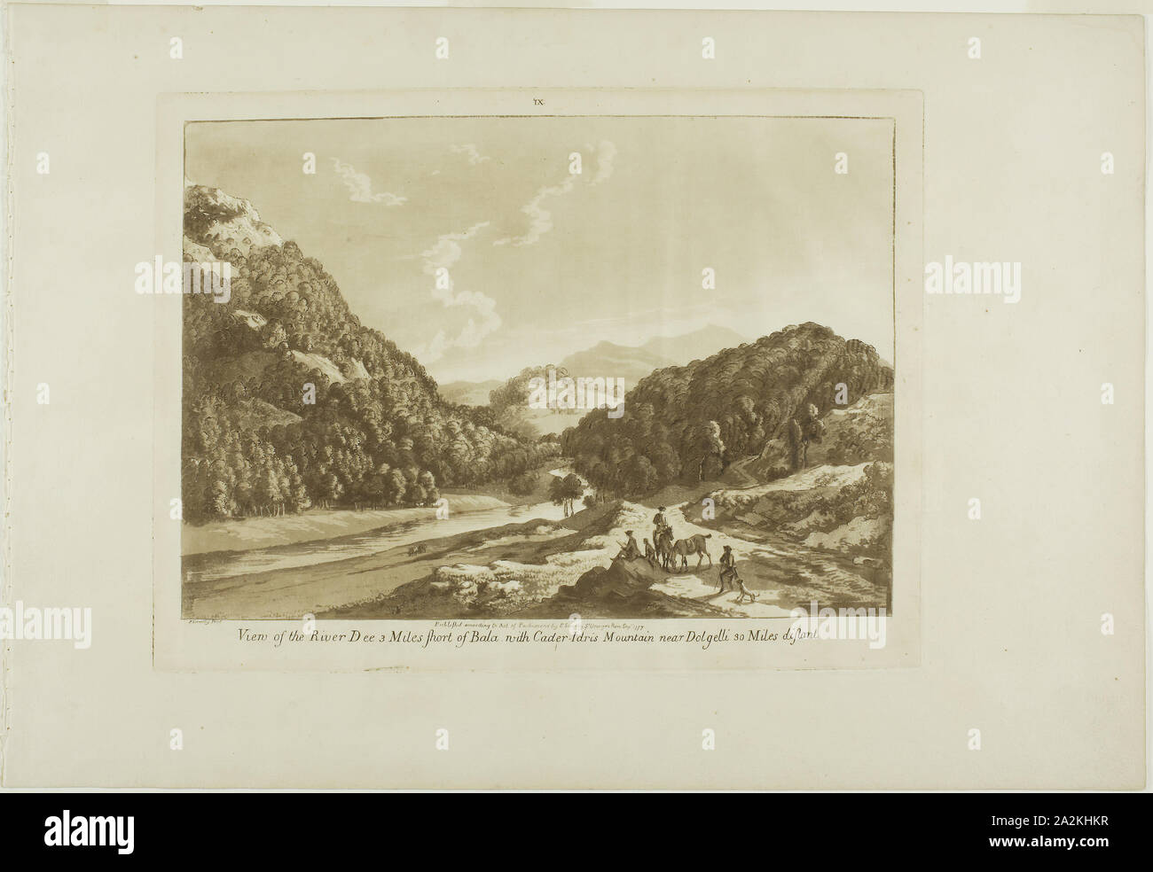 View of the River Dee 3 Miles Short of Bala, with Cadar-Idris Mountain near Dolgelli 30 Miles Distant, 1776, Paul Sandby, English, 1731-1809, England, Aquatint on cream laid paper, 237 × 314 mm (plate), 320 × 463 mm (sheet Stock Photo