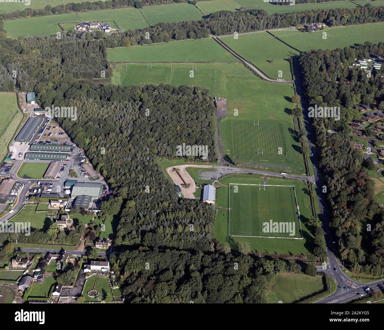 aerial view of Harrogate RUFC, Rudding Lane, Harrogate, North Yorkshire Stock Photo
