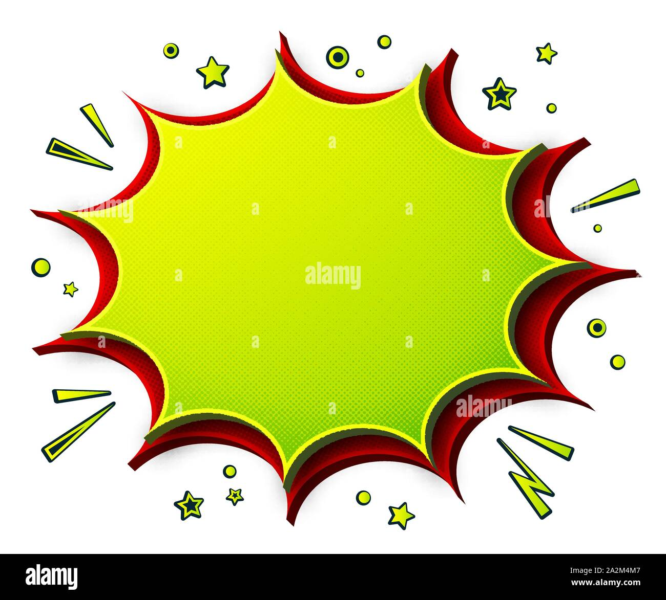 Comics background. Cartoon poster in pop art style with green- red speech bubbles with halftone and sound effects. Funny colorful banner Stock Vector