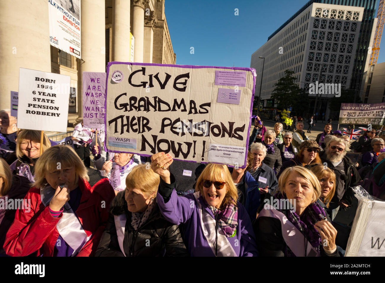 Manchester. October 2019: WASPI - Women Against State Pension Injustice protest at Conservative Conference Stock Photo