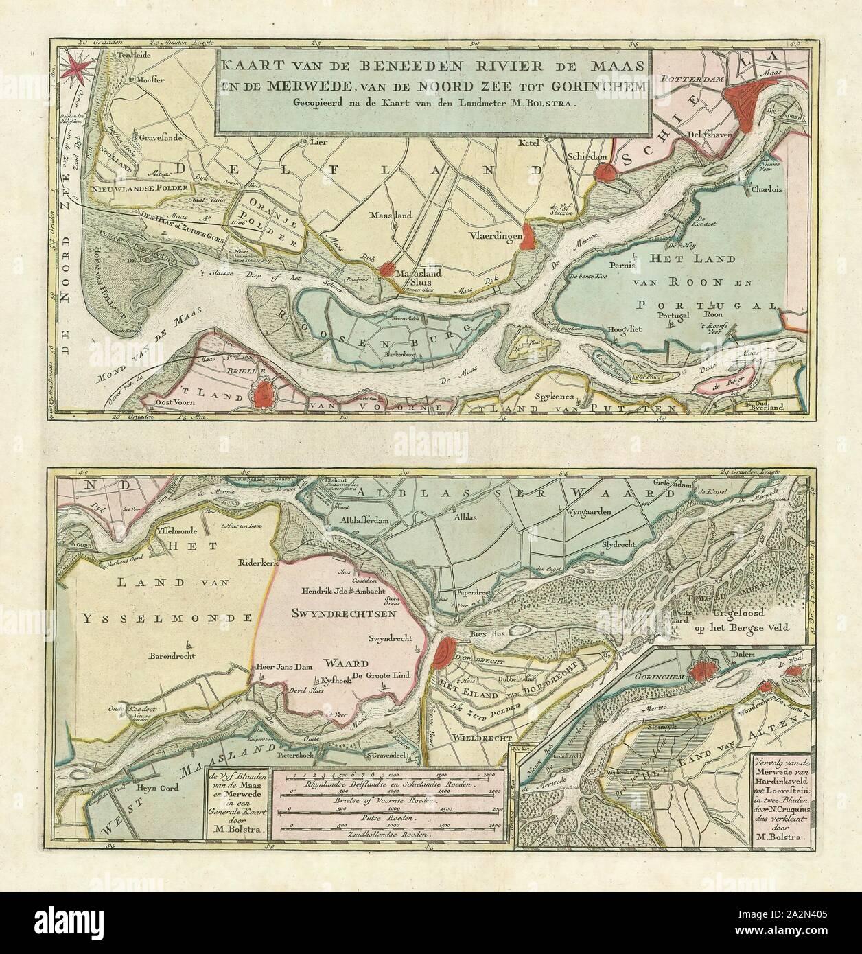 Map, Kaart van de Beneeden rivier de Maas en de Merwede, van de Noord Zee tot Gorinchem, Melchior Bolstra (1704-1779), Copperplate print Stock Photo