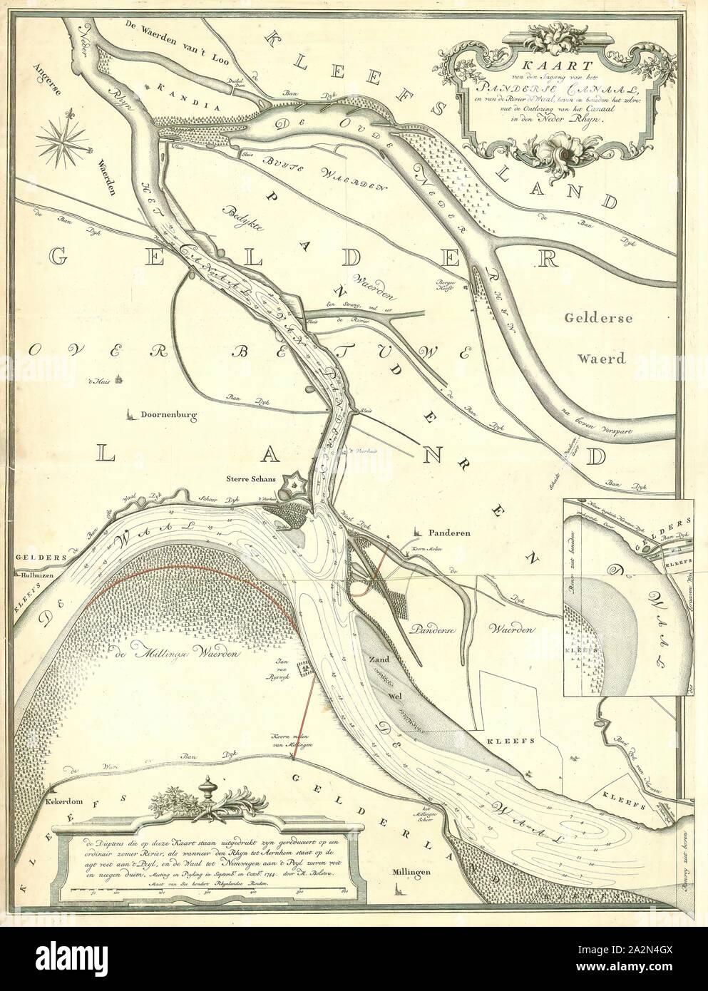 Map, Kaart van den ingang van het Panderse canaal, en van de rivier de Waal, boven en beneden het zelve, met de ontlozing van het canaal in den Neder Rhyn, Melchior Bolstra (1704-1779), Copperplate print Stock Photo