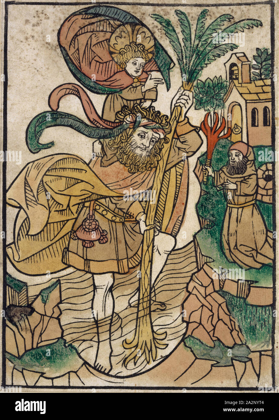 St. Christopher, c. 1480, woodcut, colored (unique), unique, folia: 19 x 13.6 cm, Anonym, Oberrhein, 15. Jh Stock Photo