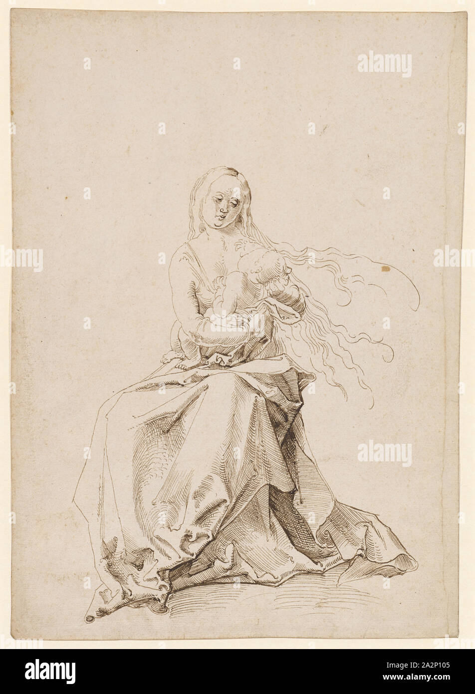 Mary with Child, Feather in Brown, Leaf: 30.5 x 21.7 cm, Not marked, Anonym, Oberrhein (sog. Pseudo-Leu Stock Photo