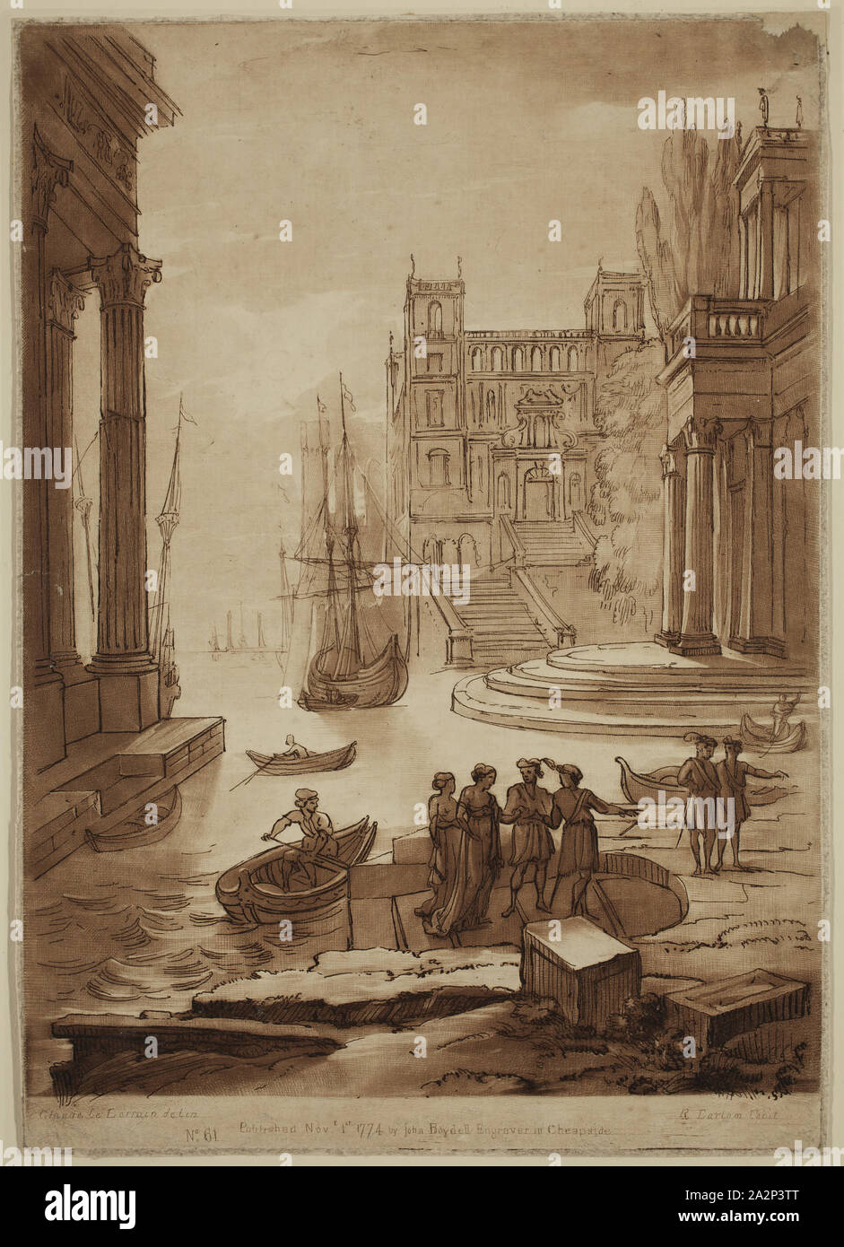 Richard Earlom, English, 1743 - 1822, after Claude Gellée, French, 1600-1682, Seaport with the Debarkation of a Lady of Quality, ca. 1774, etching and mezzotint printed in brown ink on laid paper, Plate: 10 5/8 × 7 1/2 inches (27 × 19.1 cm Stock Photo