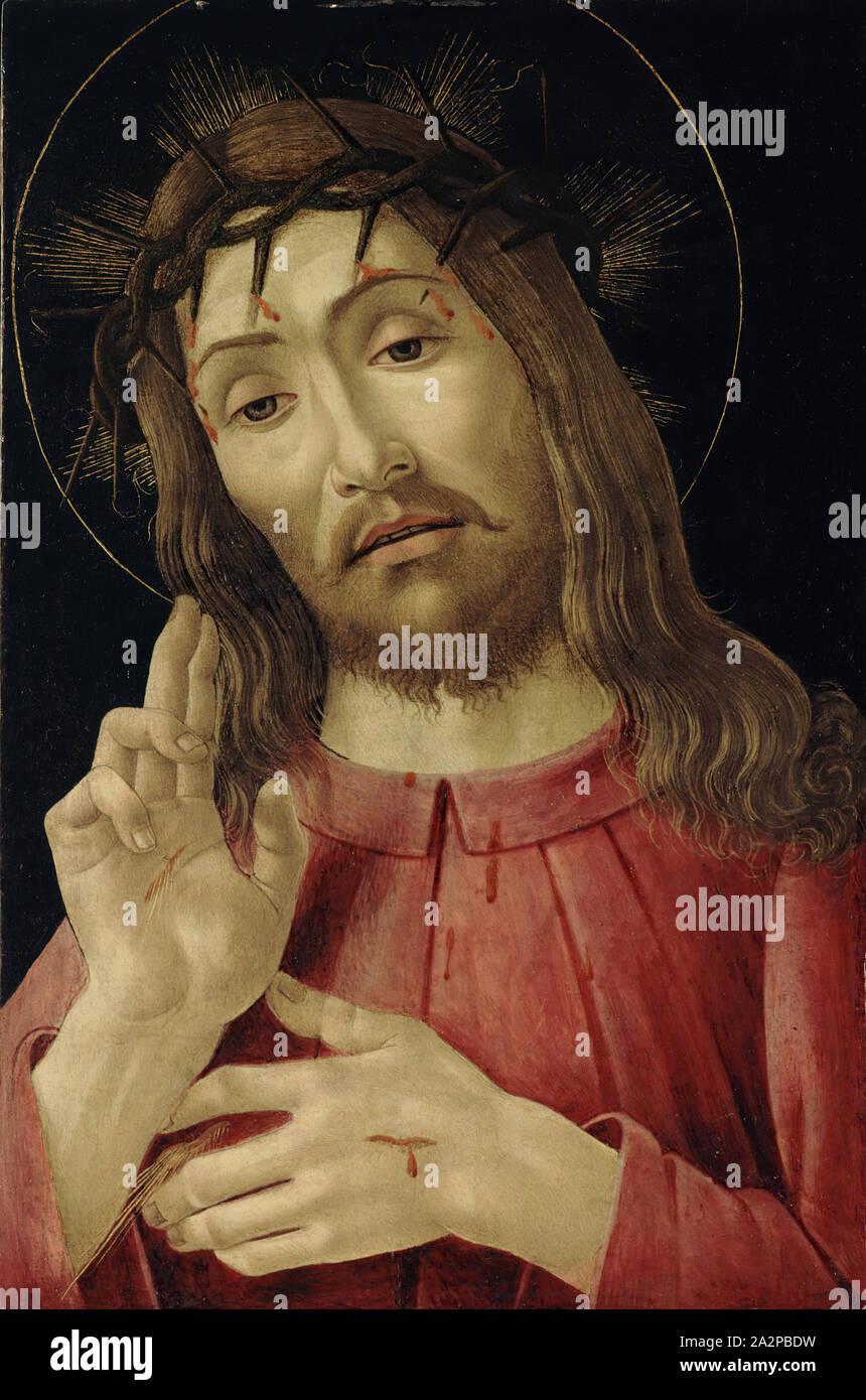 Sandro Botticelli, Italian, 1444 or 1445 - 1510, The Resurrected Christ, ca. 1480, Paint on wood panel (transferred), Unframed: 18 × 11 3/4 inches (45.7 × 29.8 cm Stock Photo