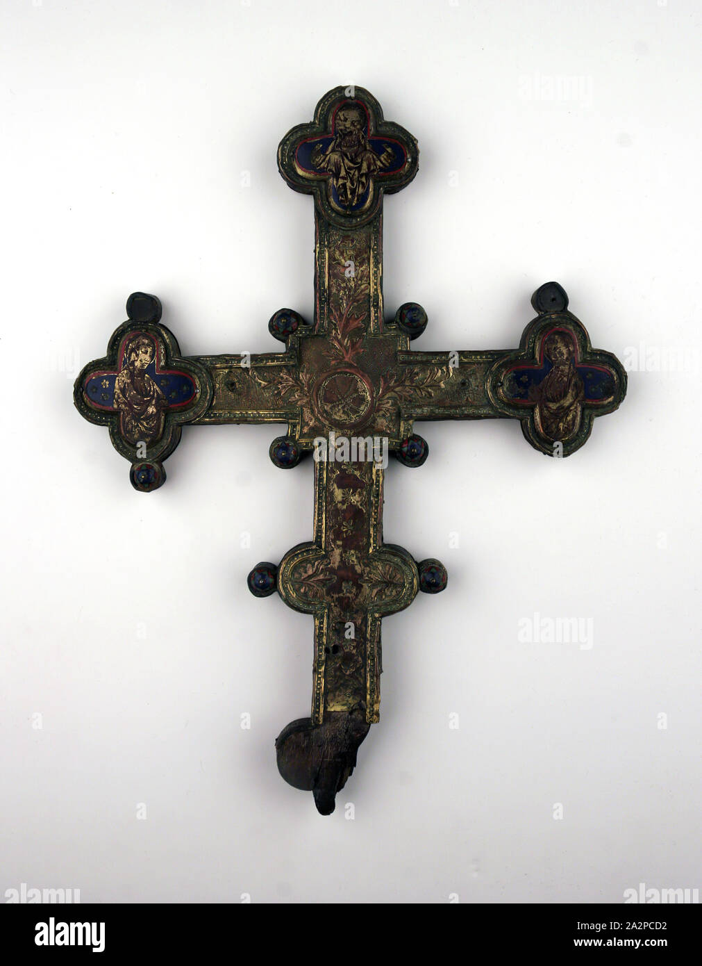 "Catholic Womens Floral Crucifix 1 3//4/""L Metal Pendant on Steel Chain Italian"