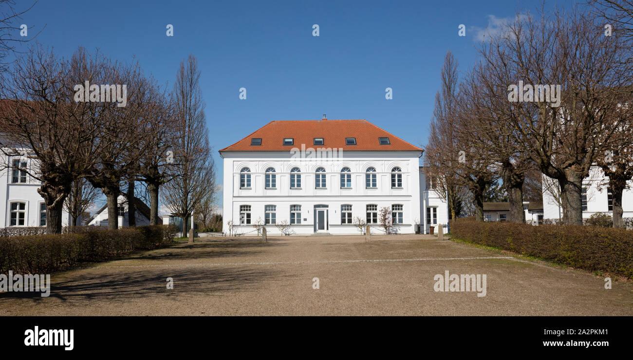 White building at the circus of Putbus, Rügen Island Stock Photo