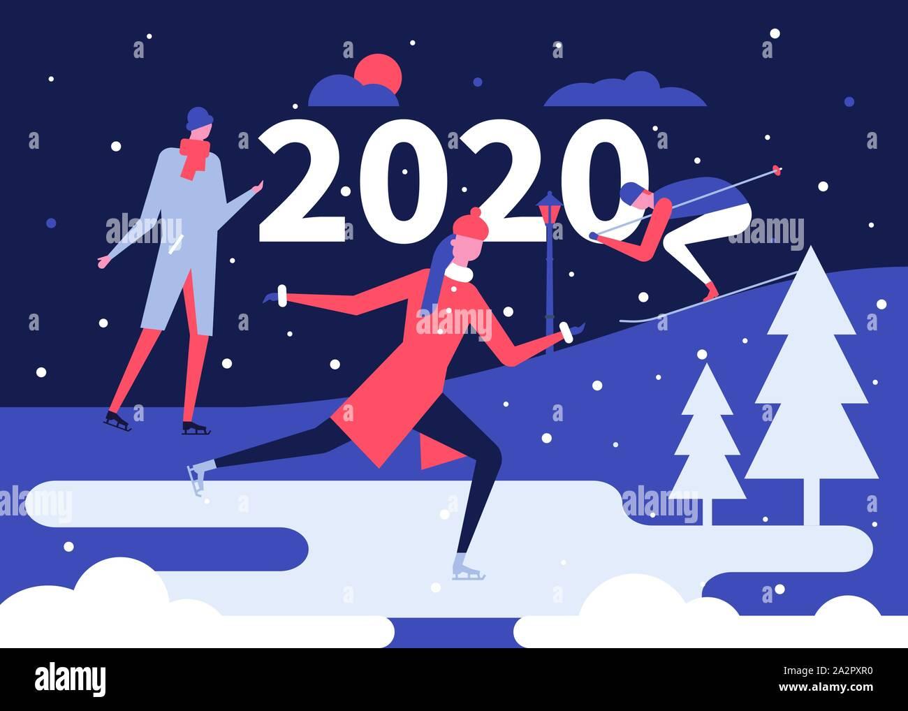 Winter holidays fun flat design style illustration Stock Vector
