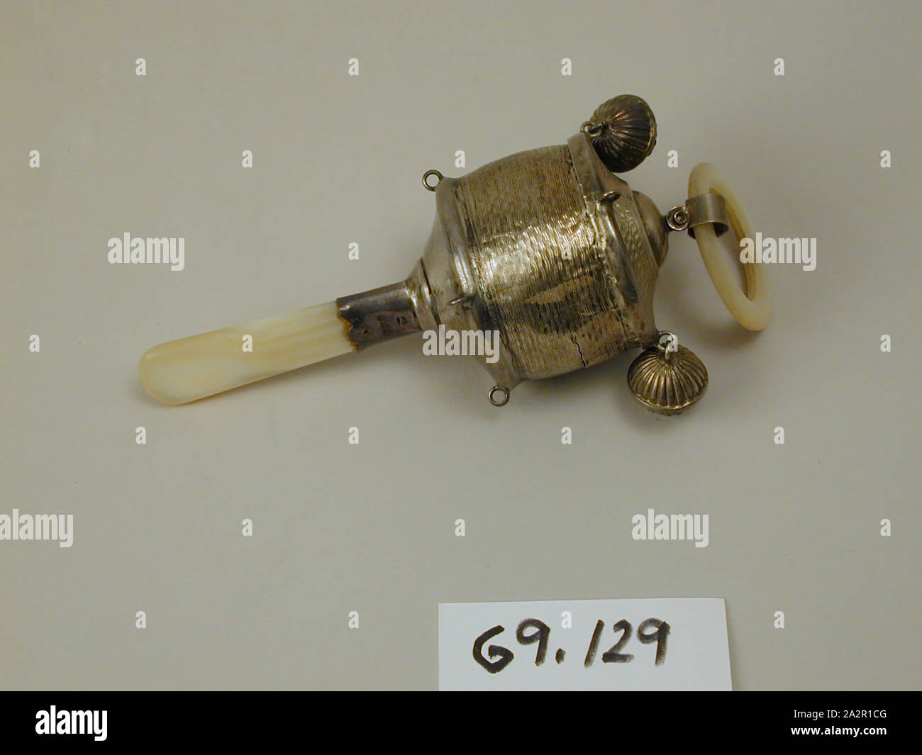 Solid Silver Baby Rattle w// Bells Whistle /& Teether