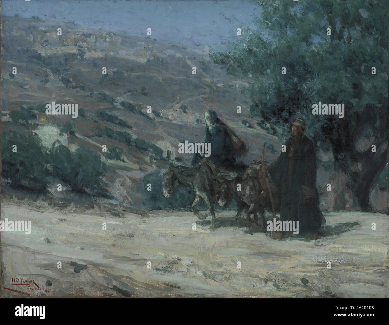 Henry Ossawa Tanner, American, 1859-1937, Flight into Egypt, 1899, oil on canvas, Unframed: 19 3/4 × 25 1/2 inches (50.2 × 64.8 cm Stock Photo