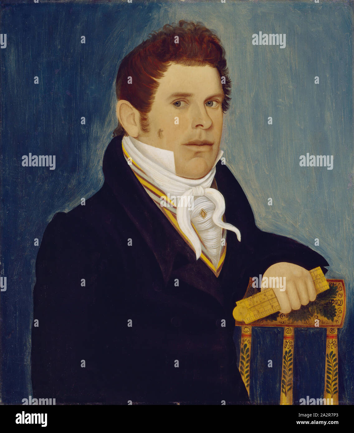 Unknown American Man With Folding Rule Ca 1820 Oil On Panel Unframed 26 3 4 23 5 8 Inches 67 9 60 Cm Stock Photo Alamy