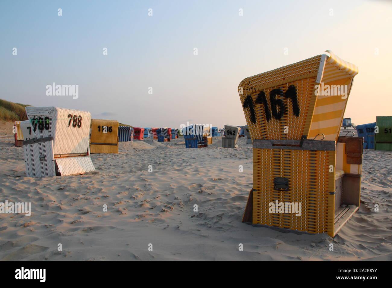 Beach chairs at the sandy beach of Langeoog (Germany) Stock Photo