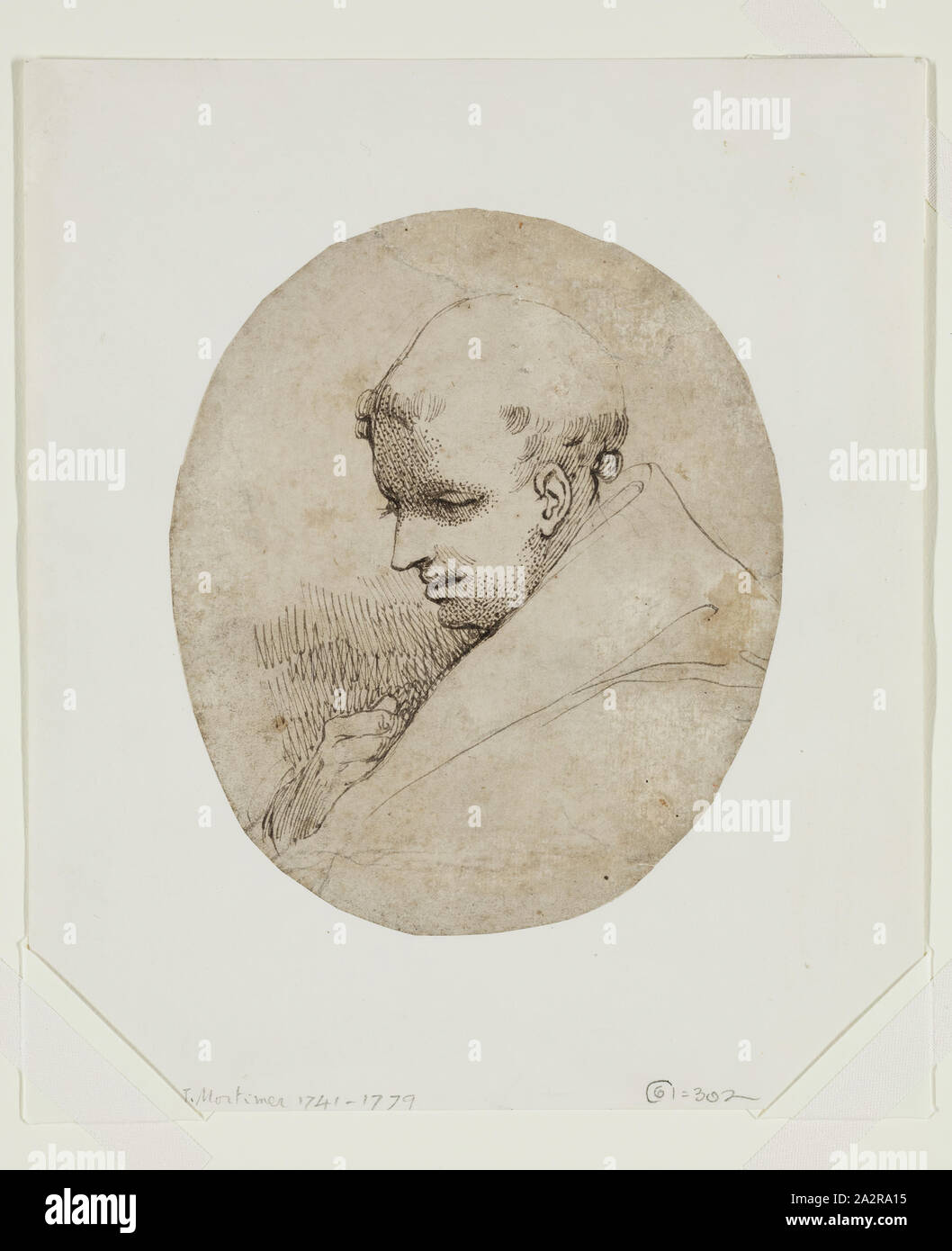 John Hamilton Mortimer, English, 1741-1779, A Monk, between 1770 and 1775, pen and black ink on mottled laid paper, Sheet: 5 3/4 × 4 7/8 inches (14.6 × 12.4 cm Stock Photo