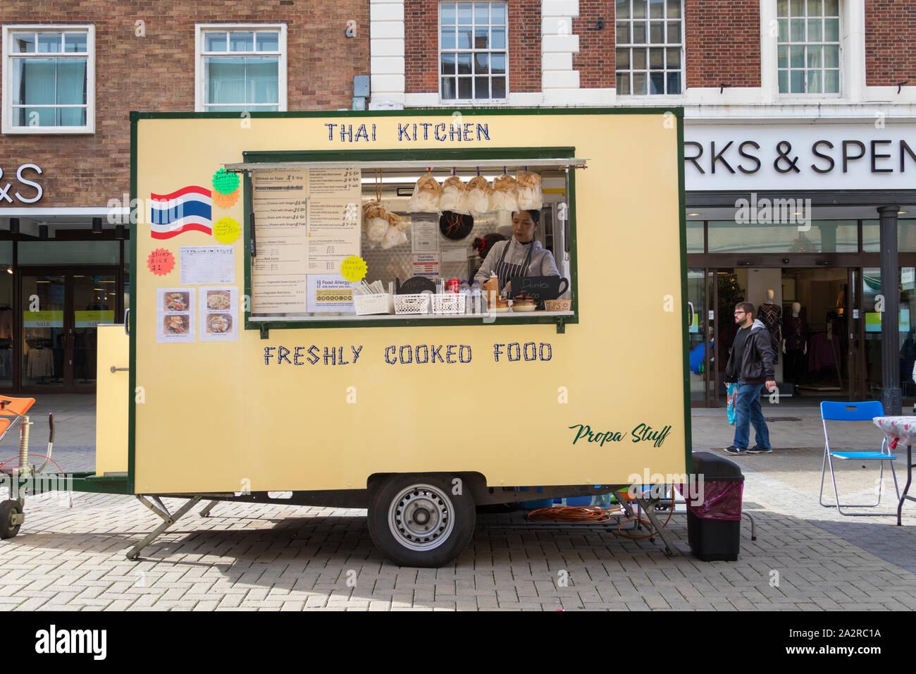 Street Food Vendor Thai Kitchen Canterbury Kent Uk Stock Photo Alamy