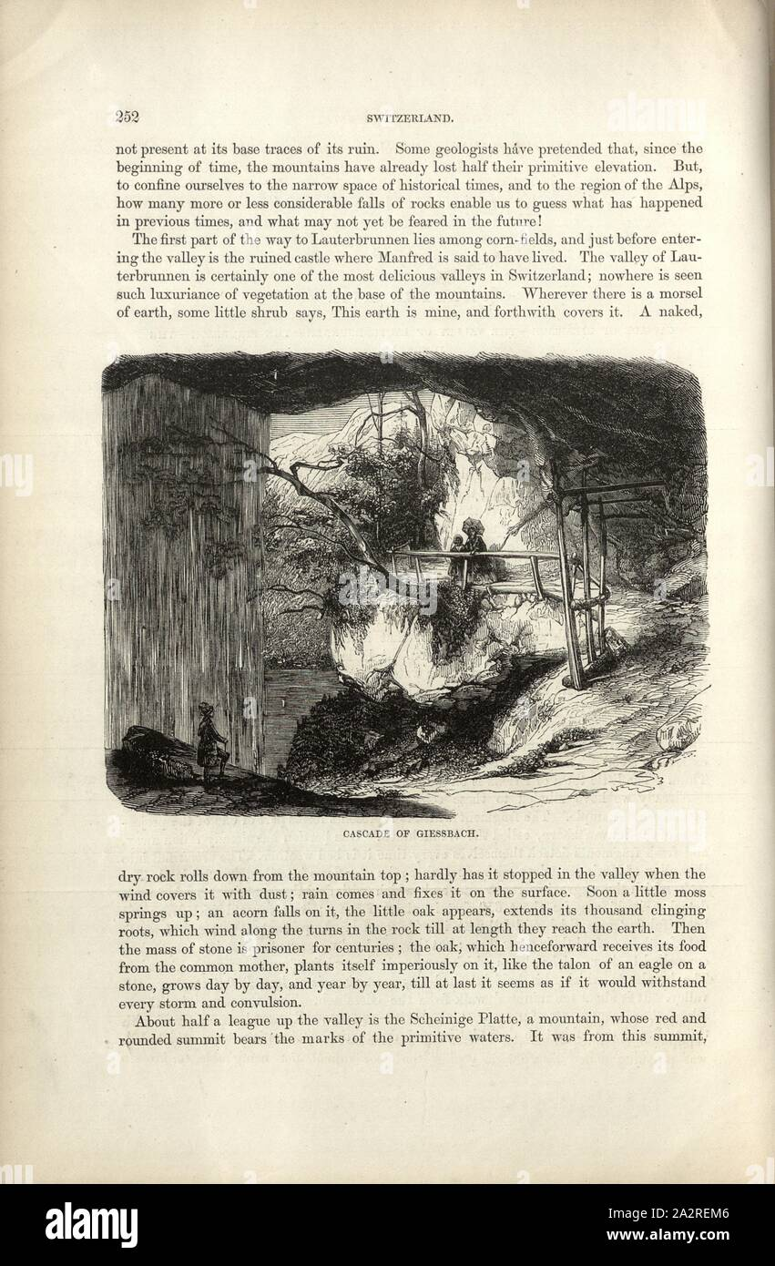 Cascade of Giessbach, View behind the Giessbach Falls, p. 252, Charles Williams, The Alps, Switzerland, and the North of Italy. London: Cassell, 1854 Stock Photo