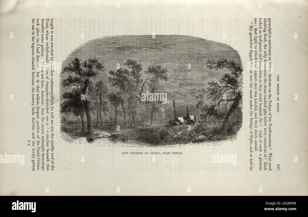 Low country of Fusina, near Venice, Fusina near Venice, p. 545, 1854, Charles Williams, The Alps, Switzerland, and the North of Italy. London: Cassell, 1854 Stock Photo