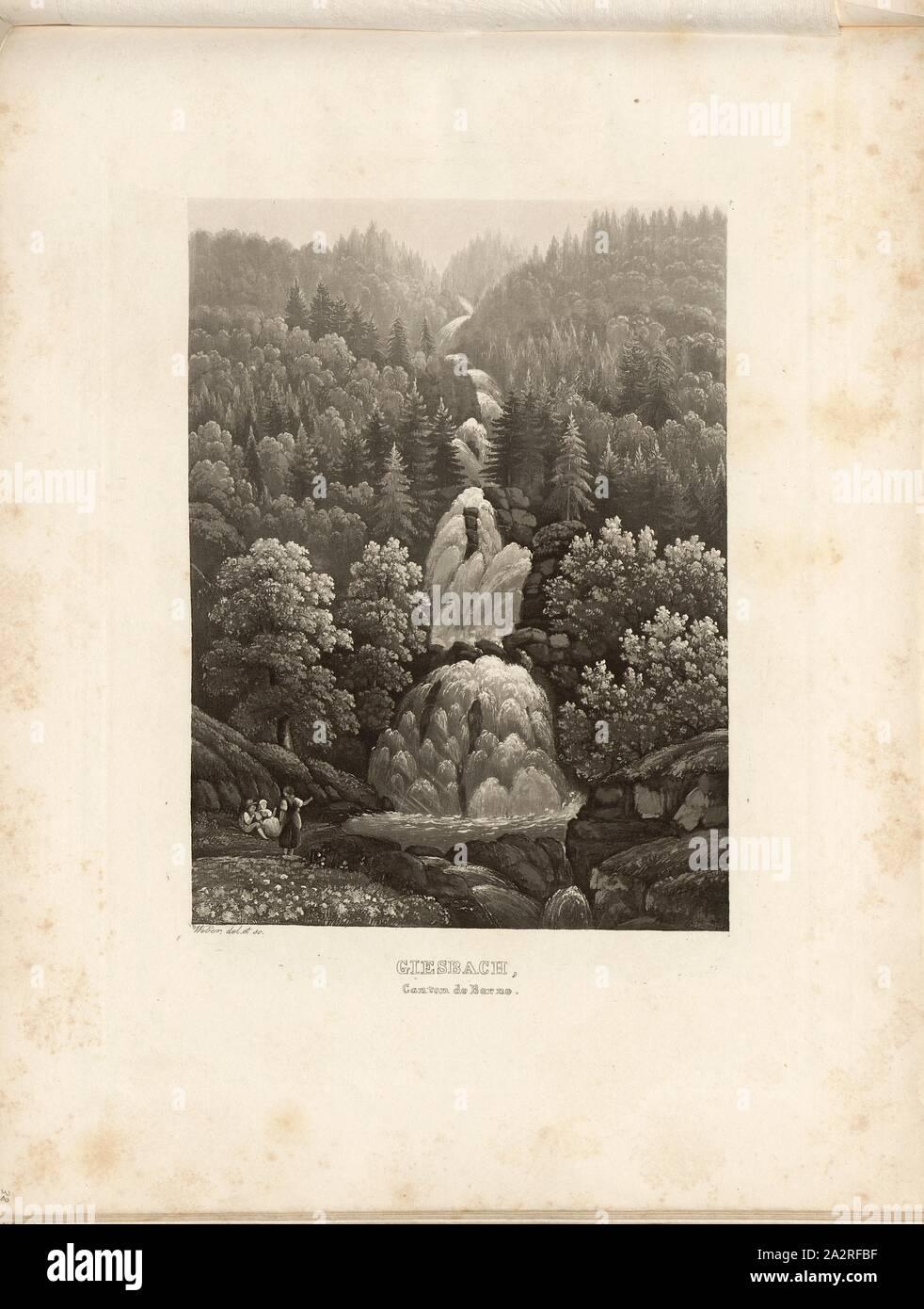 Giesbach, Canton of Bern, View of the Giessbach Falls (Canton of Berne), signed: Weber del. Et sc, pl. 40, p. 88, Weber, Lukas (del. et sc.), 1841, Hans Felix Leuthold: Cinquante vues pittoresques de la Suisse. Contenant les points les plus intéressants et les plus originaux. Zürich: H.F. Leuthold, [1841 Stock Photo