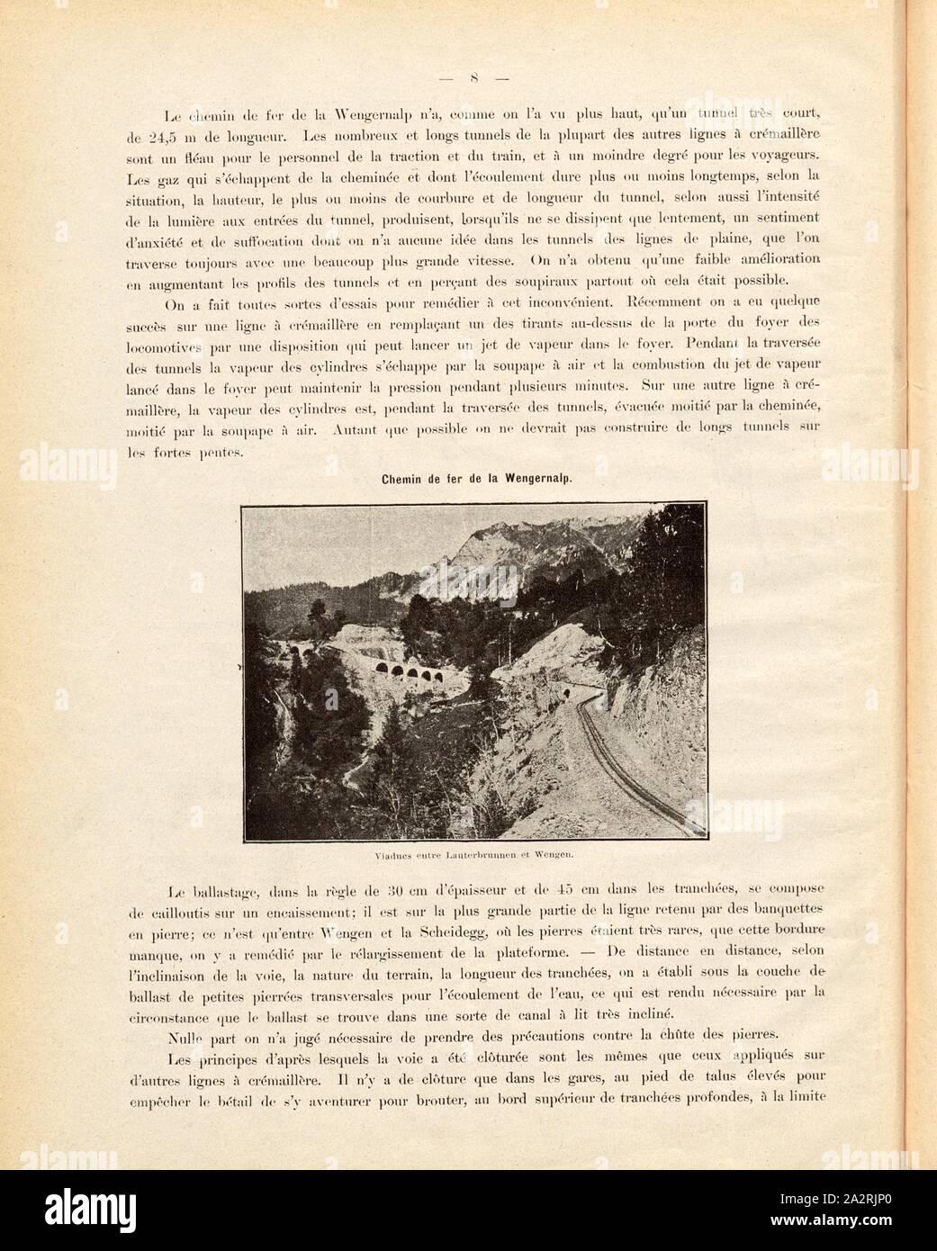 Viaducs entre Lauterbrunnen et Wengen, Photographic illustration of the viaducts on the railway line between Lauterbrunnen and Wengen, Fig. 7, p. 8, 1893, Emil Strub: Le chemin de fer de la Wengernalp. [s.l.]: [s.n.], 1893 Stock Photo