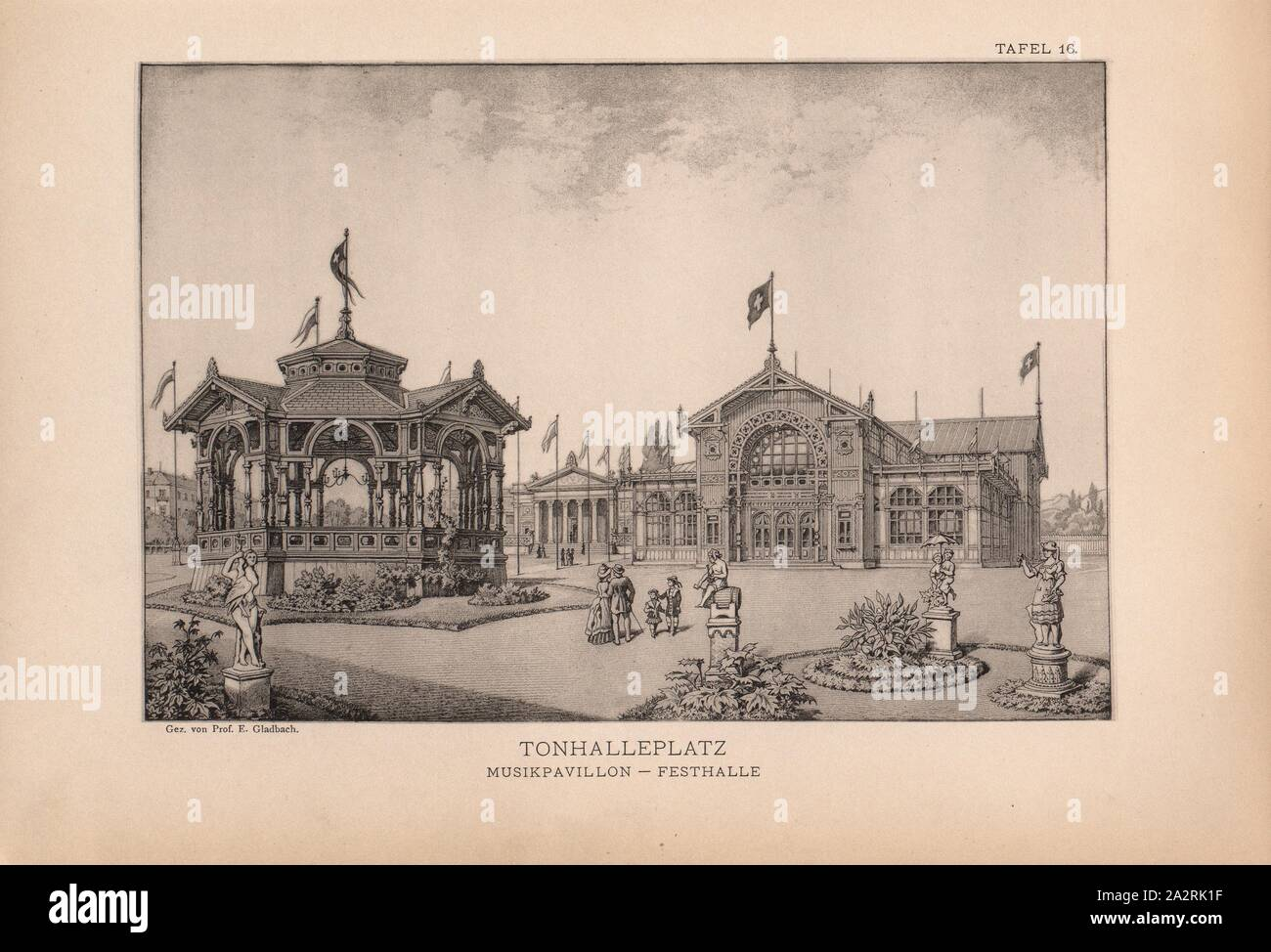 Tonhalleplatz, music pavilion - Festhalle, View of the festival hall with the music pavilion in the foreground and visitors to the state exhibition on the Tonhalleplatz, Signed: Gez., by Prof. E. Gladbach, panel 16, after p. 128, Gladbach, Ernst Georg, 1884, Bureau des Centralcomité: Bericht über die Verwaltung der Schweizerischen Landesausstellung Zürich 1883. Zürich: Orell Füssli, 1884 Stock Photo