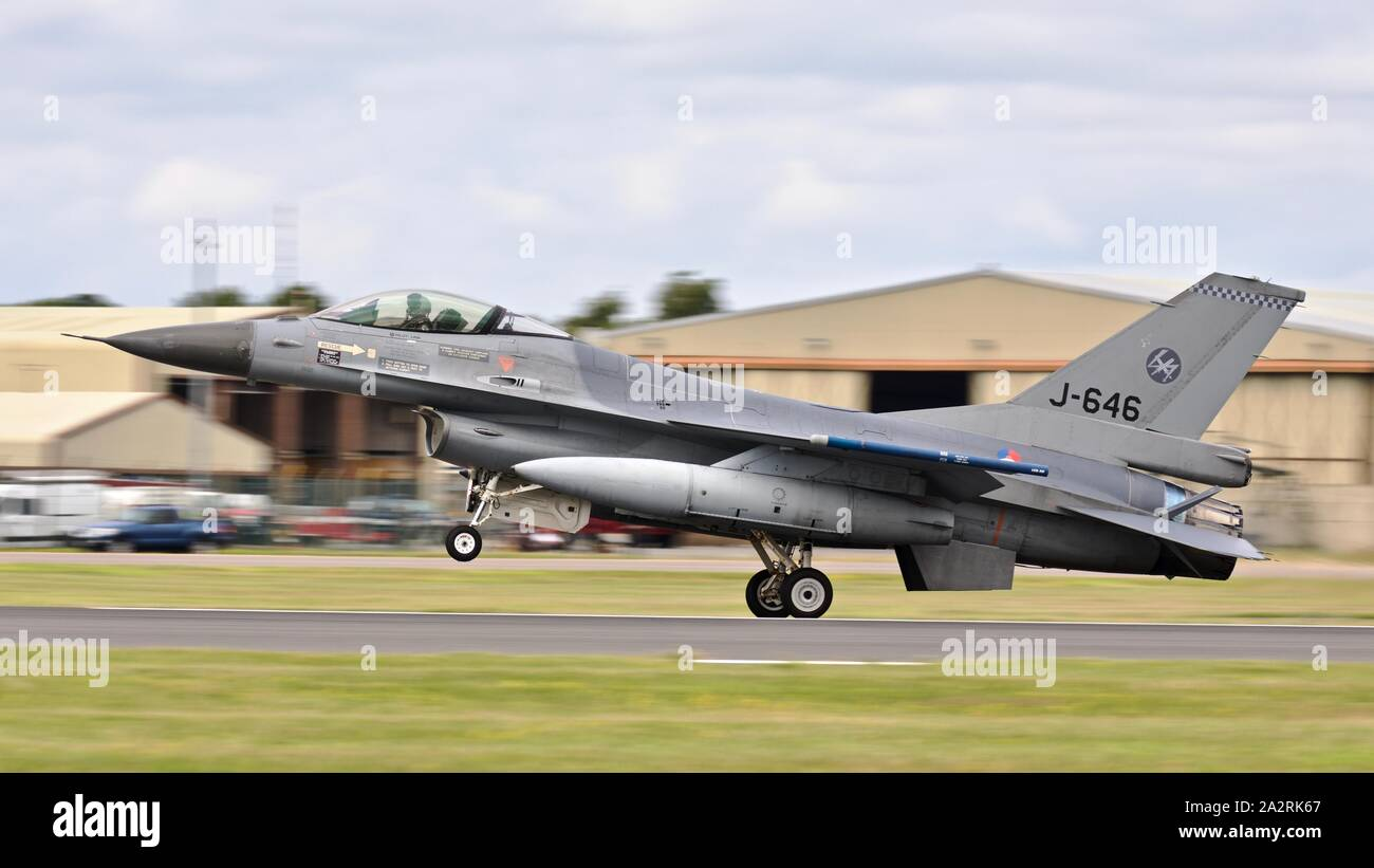 Royal Netherlands Air Force F-16 Fighting Falcon 'J-646' takings off to perform a special flypast at the 2019 Royal International Air Tattoo Stock Photo
