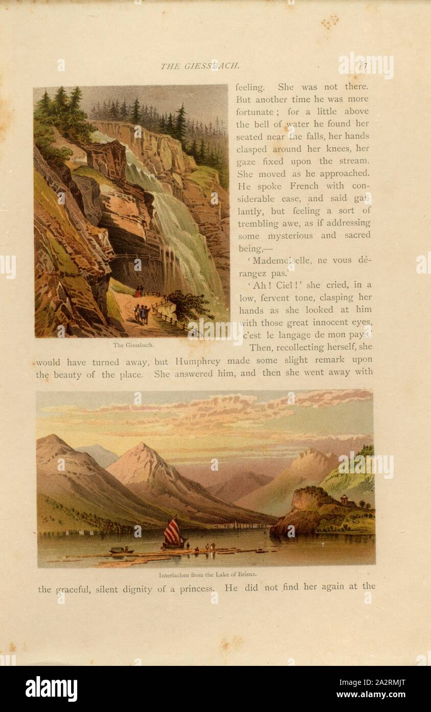 The Giessbach - Interlachen from the Lake of Brienz, Above: Giessbach Falls, below: Interlaken seen from Lake Brienz, p. 87, Charles Pyne (del. et inv.), Jerôme J. Mercier, Charles Pyne: Mountains and lakes of Switzerland and Italy. London: Bell and Daldy, 1871 Stock Photo