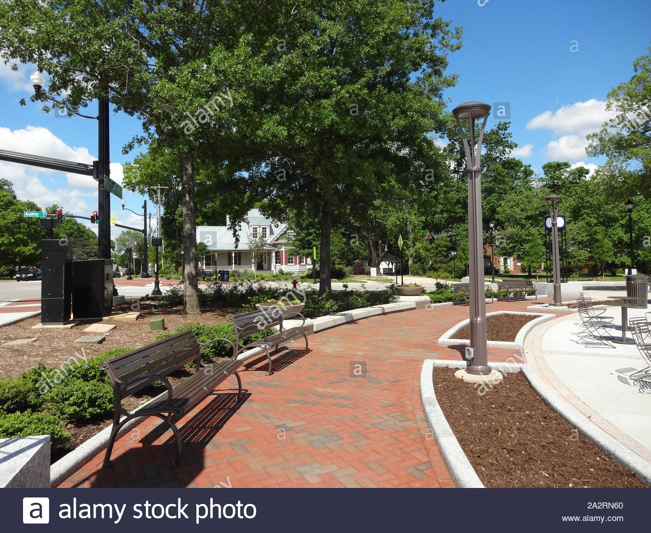 Running Fountain in Park in Downtown Cary, North Carolina Stock Photo