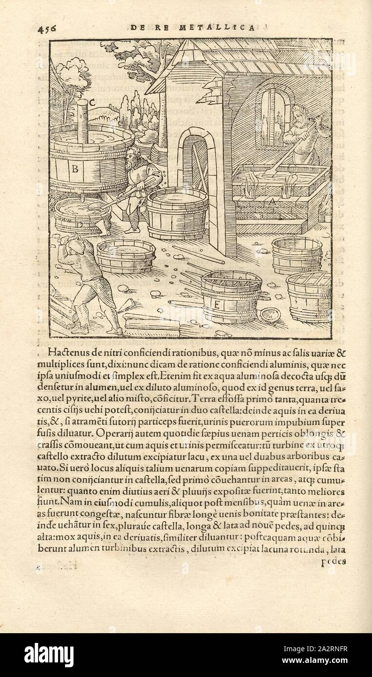 Extraction of saltpetre, Earth containing saltpetre is mixed with a powder, ash and water, and the solution is boiled. The lye solidifies on rods in vats to form a saltpetre, woodcut, p. 456, (Liber duodecimus), Manuel, Hans Rudolf (graveur sur bois), 1556, Georgius Agricola: De re metallica libri XII: quibus officia, instrumenta, machinae, ac omnia denique ad metallicam spectantia, non modo luculentissime describuntur, sed & per effigies (...). Basileae: [Froben], 1556 Stock Photo