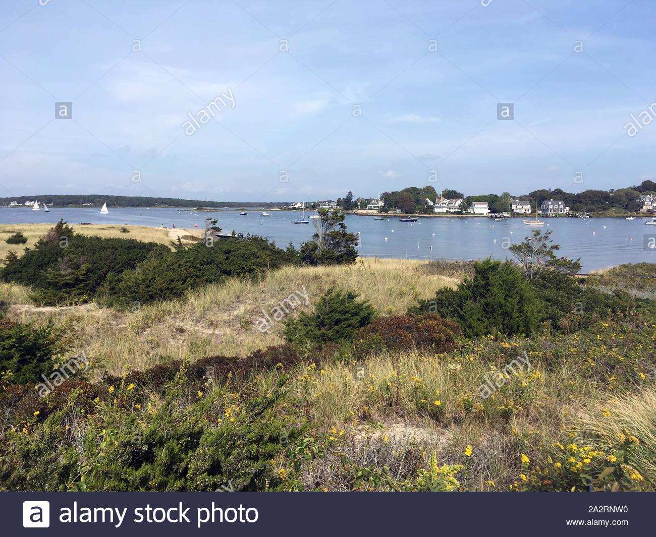 Beach Dunes in Watch Hill in Westerly, Rhode Island Stock Photo