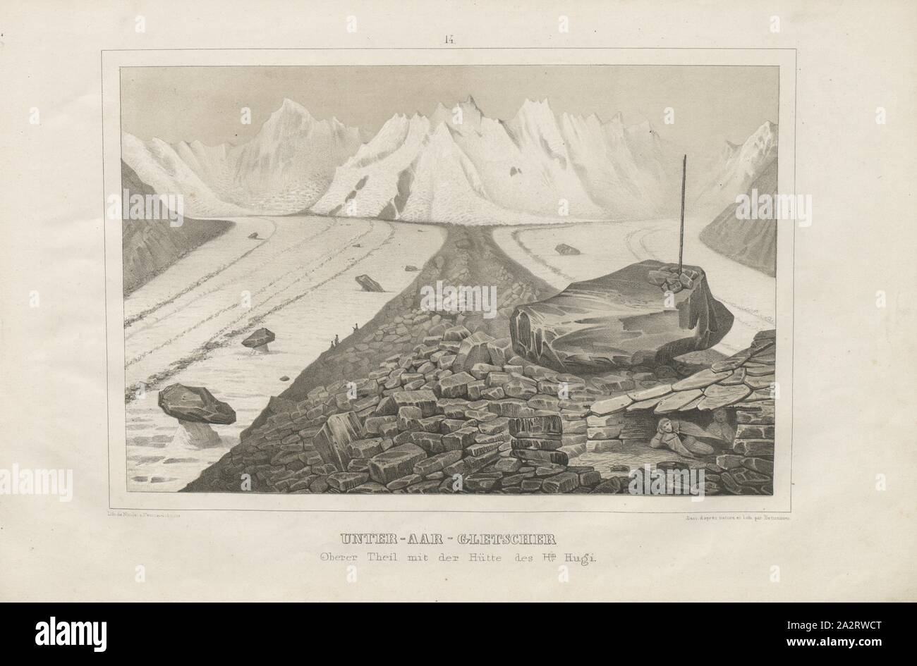 Under - aar glacier, Illustration of the upper part of the Unteraar Glacier and the hut of Hn., 19th century Hugi, signed: Lith. De Nicolet a Neuchatel, Suisse, Dess., d'apres nature et lith, par Bettanier, Plate 14, p. 34, Nicolet (lith.); Bettanier (des. & lith.), 1840, Louis Agassiz: Untersuchungen über die Gletscher. [Tafelband]. Solothurn: in Kommission bei Jent & Gassmann, 1841 Stock Photo