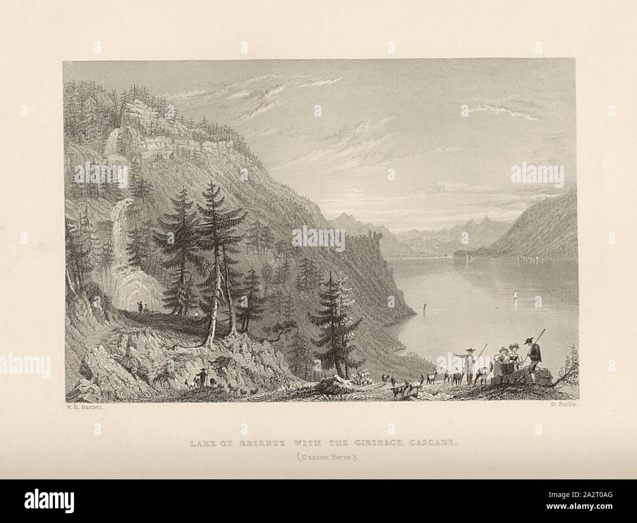 Lake of Brientz with the Giesbach cascade. (Canton Berne), View of the Giessbach Falls and Lake Brienz, Signed: W. H. Bartlett, D. Buckle, Plate 25, to p. 102 (Vol. 2), Bartlett, William Henry; Buckle, D., 1835, William Beattie, Switzerland. London: Virtue, 1836 Stock Photo