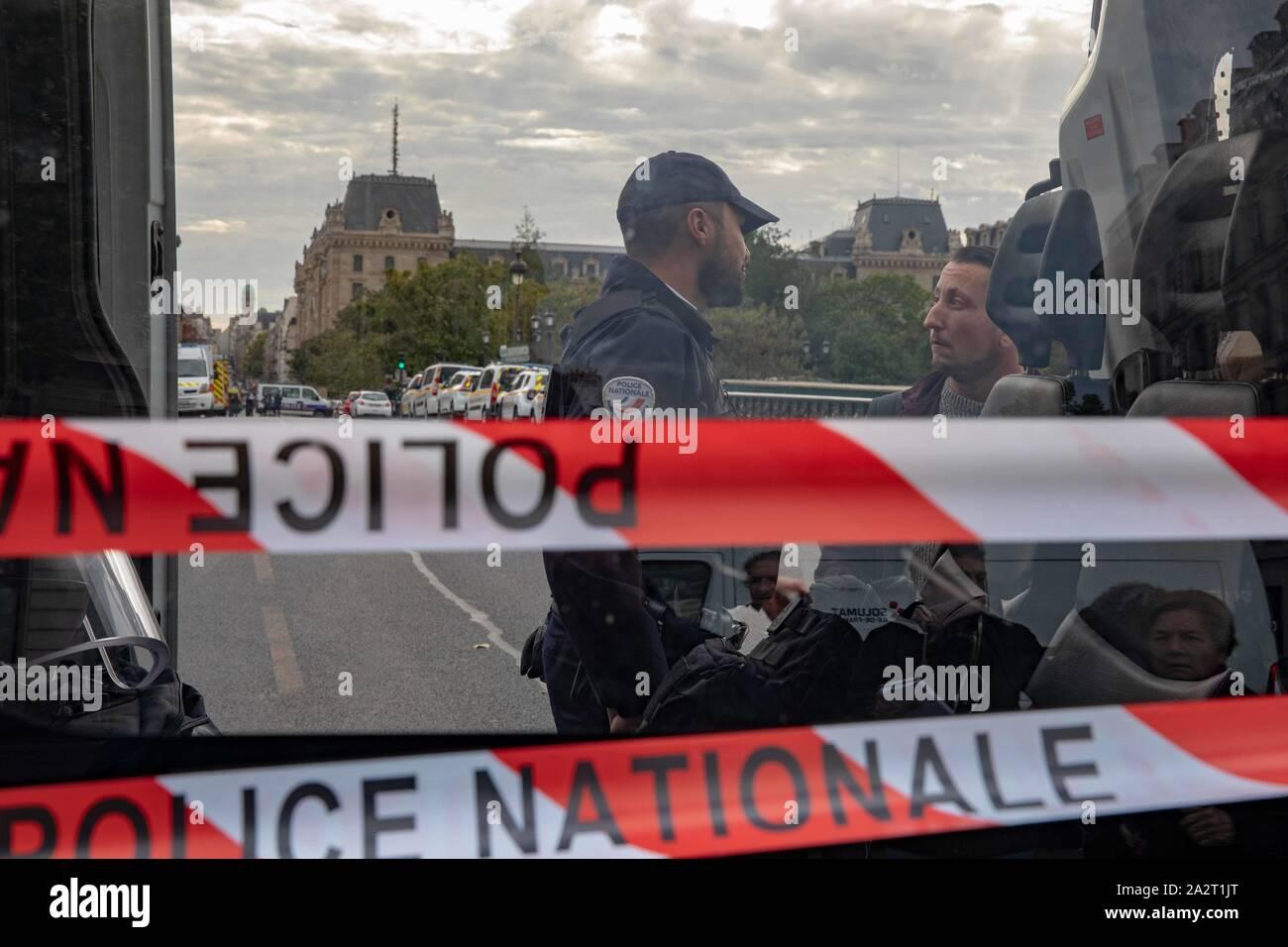 Paris, France. 3rd October 2019. Police Headquarter attacked Credit: EDOUARD MONFRAIS/Alamy Live News Stock Photo