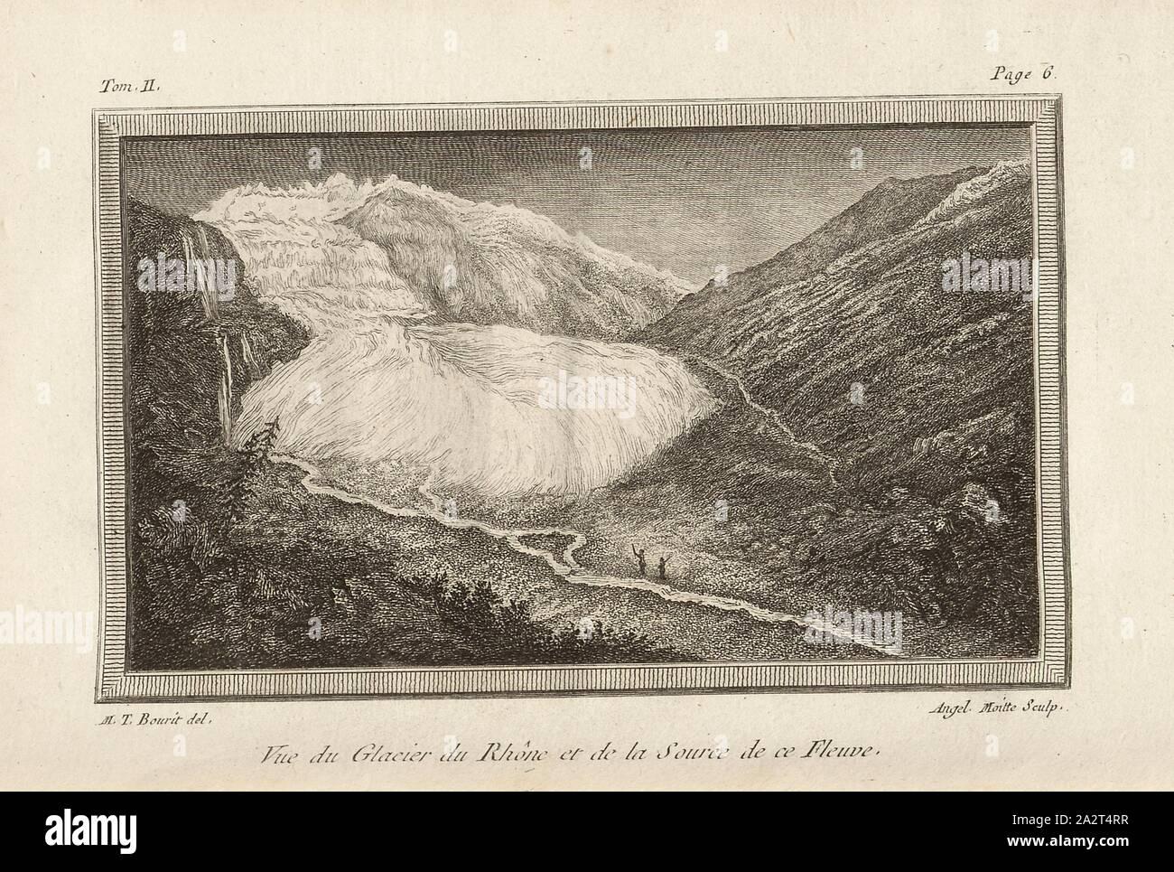 View of the Rhone Glacier and the Source of this River, View of the Rhone glacier, Signed: M. T. Bourit, Angel., Moitte, etching, plate 1, p. 6 (Vol. 2), Bourrit, Marc-Théodore (del.); Moitte, Angélique-Rose (sculp.), 1883, Bourrit, Marc-Théodore, Nouvelle description des Alpes. Genève: chez Paul Barde, 1783 Stock Photo