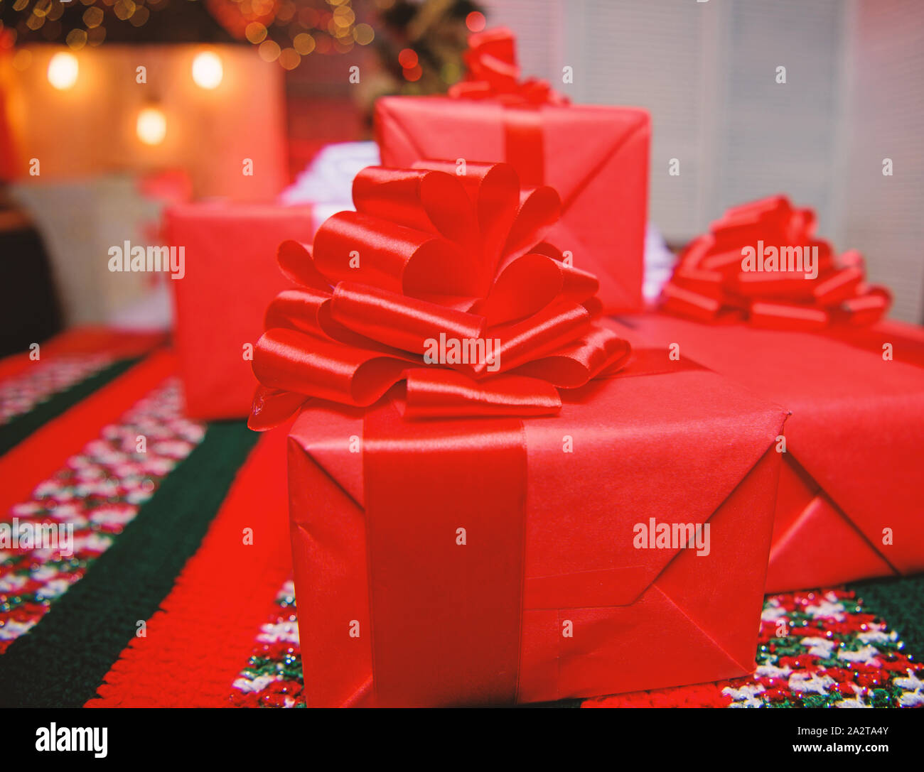 Red Wrapped Gifts Or Presents Prepare For Christmas And New Year