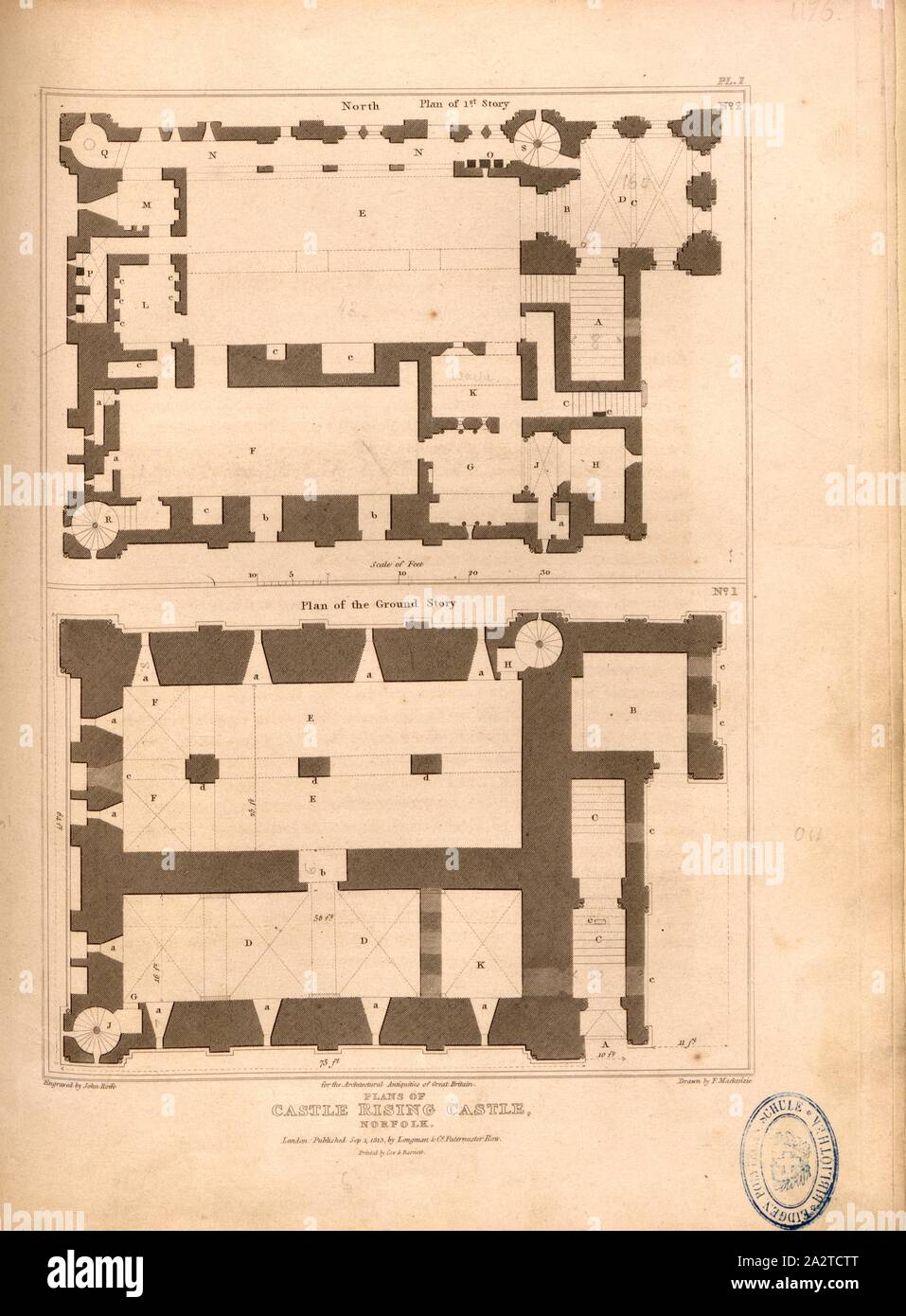 Plans Of Castle Rising Castle Norfolk Floor Plans Of Castle Rising Castle Ruins In Norfolk Signed Engraved By John Roffe Drawn By F Mackenzie Published By Longman Co Fig 55 Pl