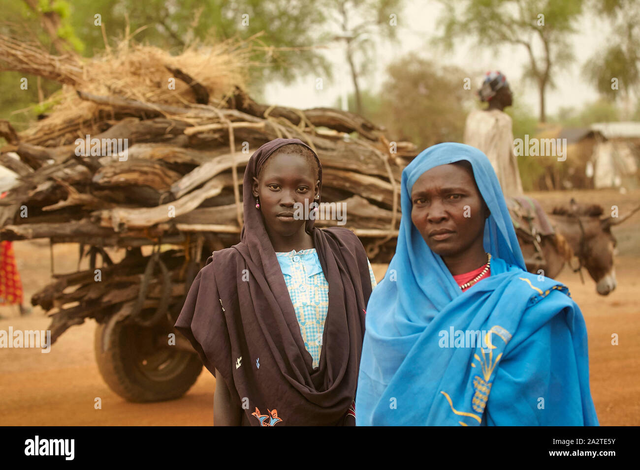 South Sudan Maban Refugee camp two woman with a car with firewood  photo Jaco Klamer 16-03-2016 Stock Photo