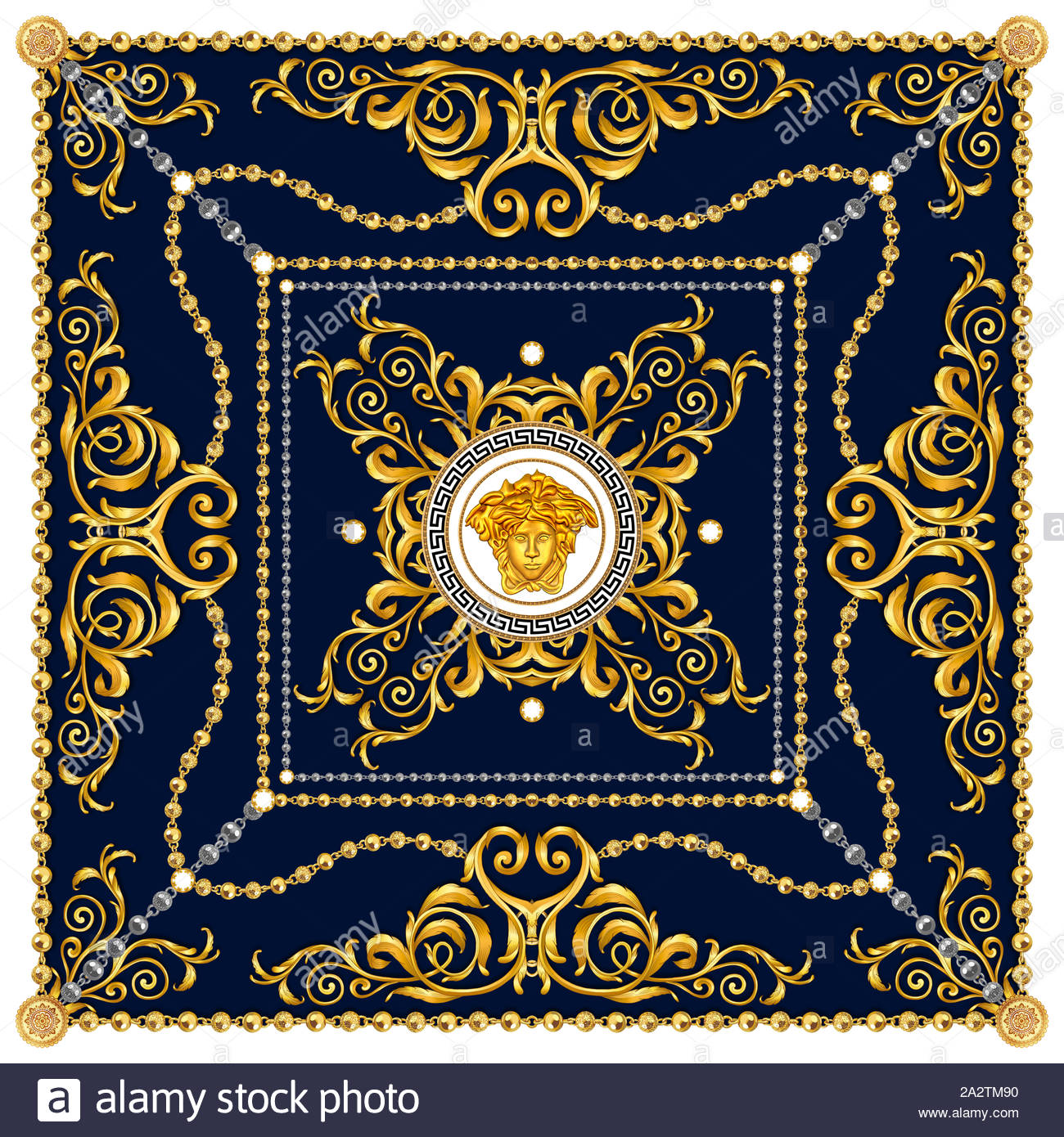 Versace Style Pattern Ready For Textile Scarf Design For Silk