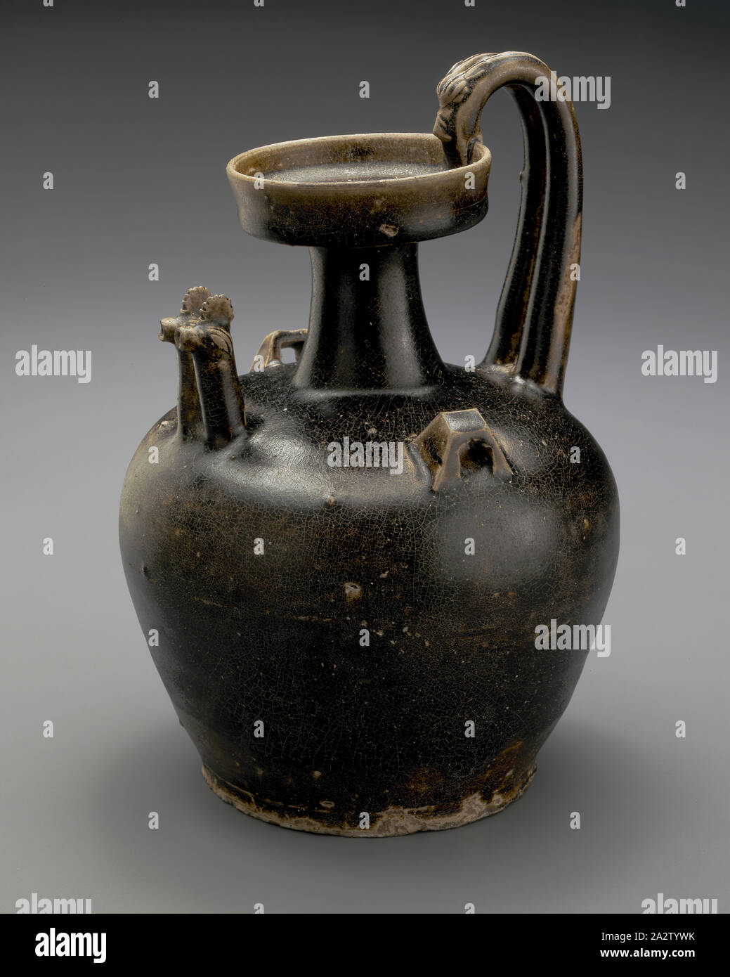 ewer with twin chicken-head spouts and dragon handle, Eastern Jin dynasty, Eastern Jin dynasty, 317-420, stoneware with glaze, 9-1/8 x 6-1/4 x 6-1/4 in., Asian Art Stock Photo