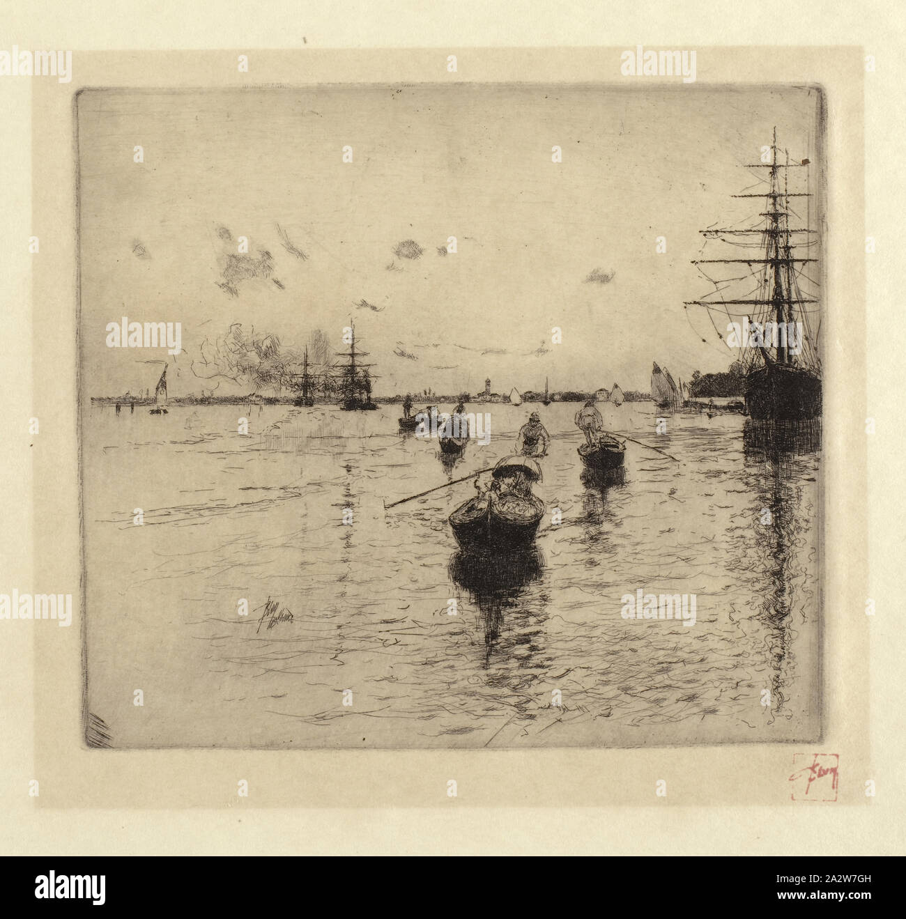 Shipping on the Venetian Lagoon, Robert Frederick Blum (American, 1857-1903), 1885, ink on paper, etching, 7-5/8 x 8-1/2 in. (image) 12-1/2 x 14-1/8 in. (sheet), Stamp in red ink, below image, l.r.: Blum Stock Photo