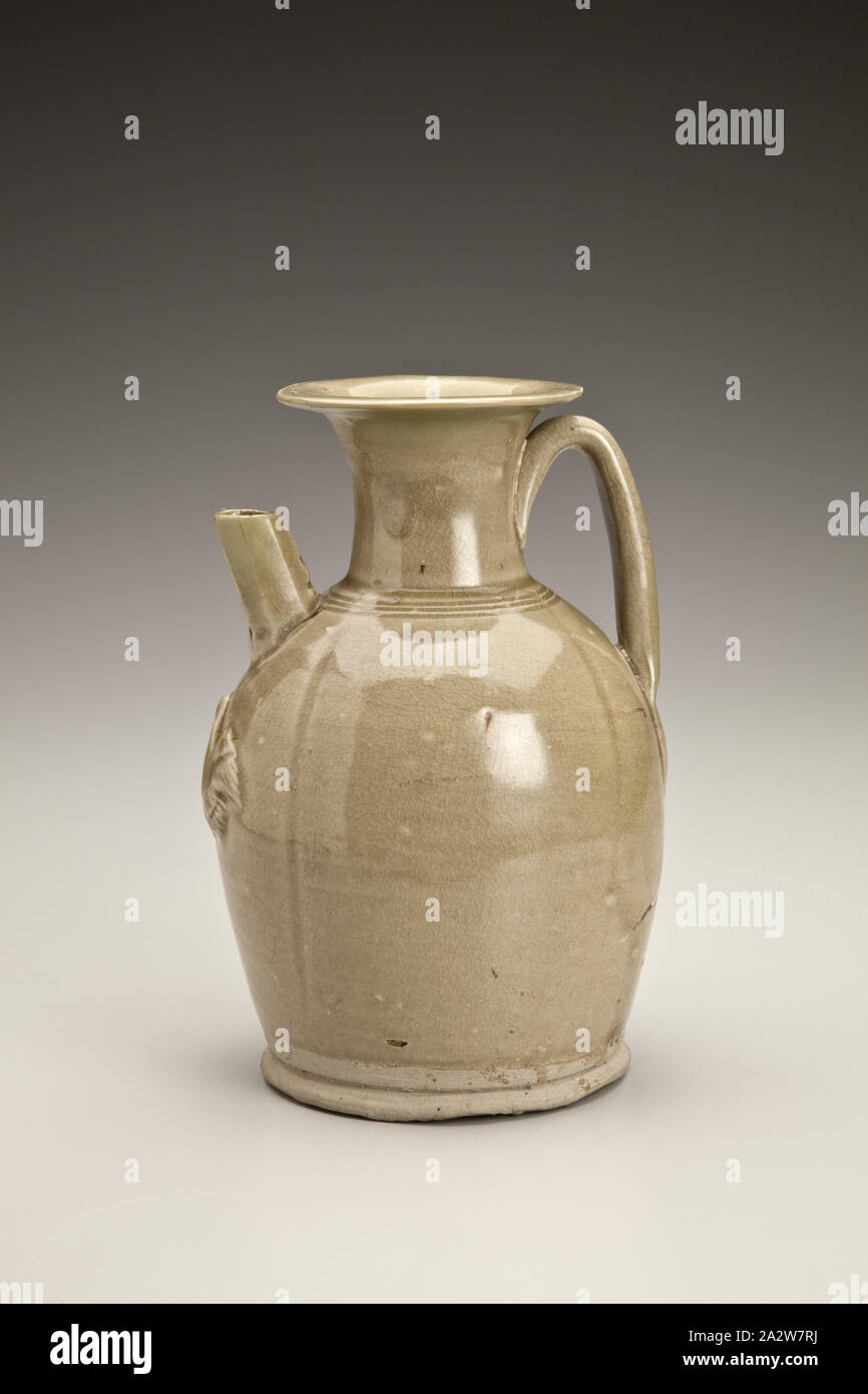 covered ewer with bird appliques, Tang dynasty, Tang dynasty, 800s, Glazed Stone, H: 6-11/16 in., Asian Art Stock Photo
