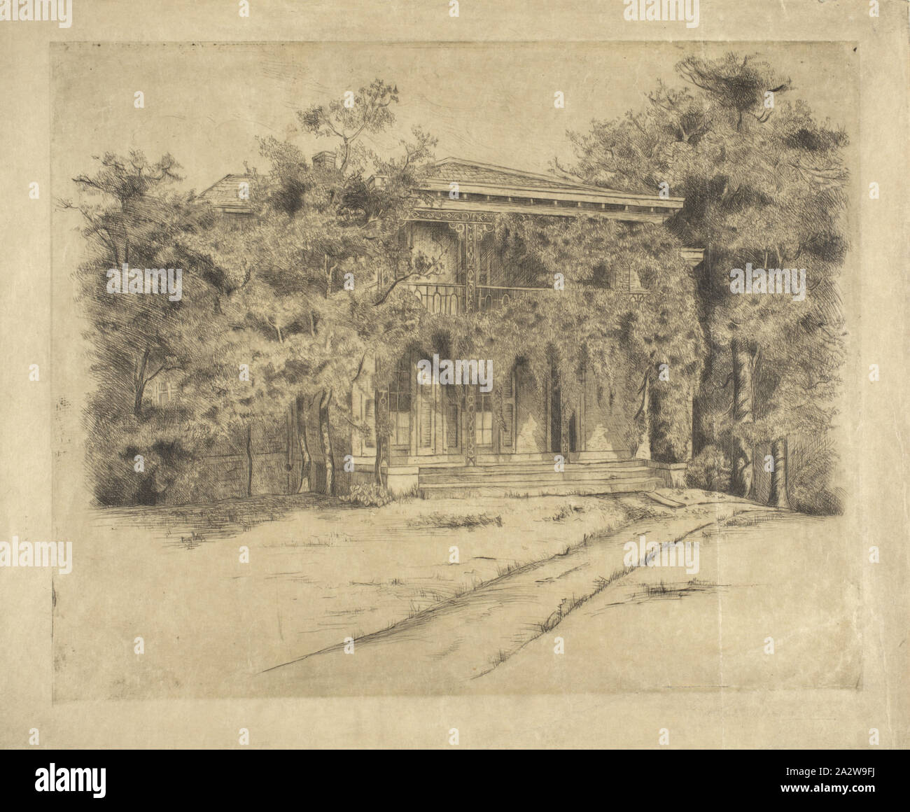 The Tinker Homestead, Edith Walmsley (American), about 1890, ink on paper, 9-3/4 x 12 in. (image) 12 x 14 in. (sheet), inscribed in pencil, verso, C.: Tinker Homestead, etching by Edith Walmsley, signed in pencil, below image, L.R.: Edith Walmsley Stock Photo