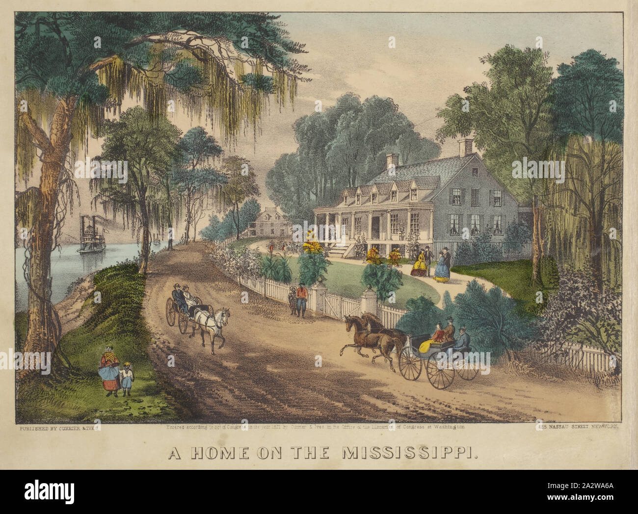A Home on the Mississippi, Nathaniel Currier (American, 1813-1888), James Merritt Ives (American, 1824-1895), 1871, hand-colored lithograph, 8-1/2 x 12-1/2 in. (image) 10-1/4 x 14-1/8 in. (sheet Stock Photo