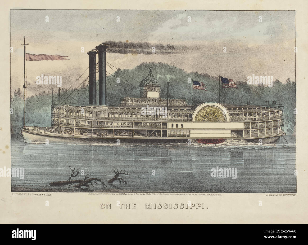 On the Mississippi, Nathaniel Currier (American, 1813-1888), James Merritt Ives (American, 1824-1895), 1869, hand-colored lithograph, 8 x 12-5/8 in. (image) 10-1/4 x 14-1/8 in. (sheet Stock Photo