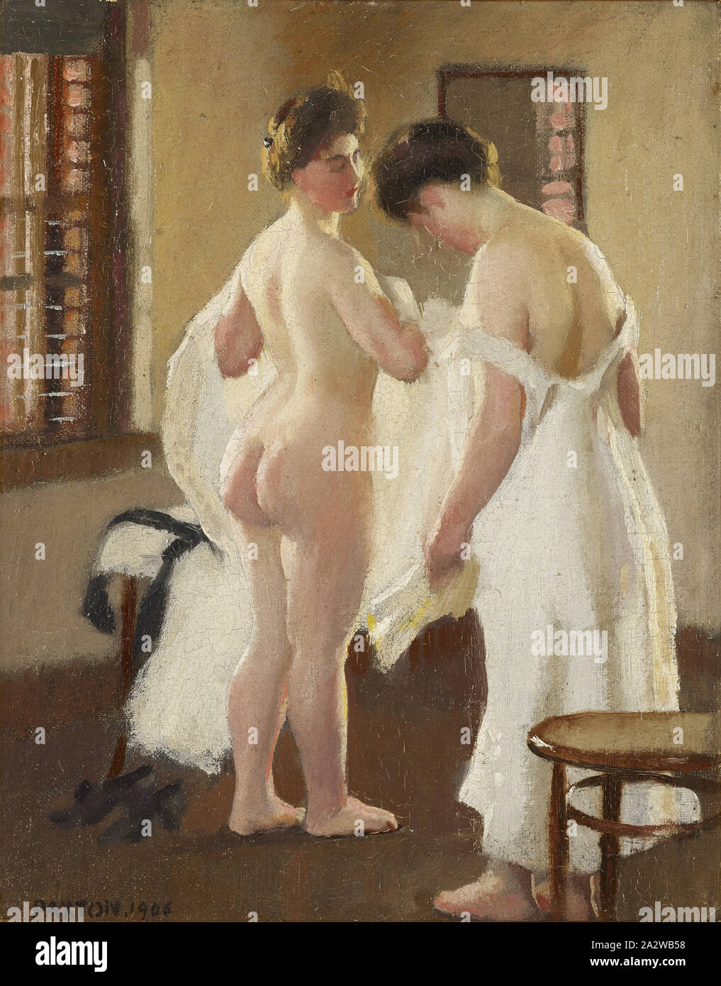 Women Dressing, William McGregor Paxton (American, 1869-1941), 1906, oil on canvas, 10-1/2 x 8-3/8 in. (canvas) 14 x 12 x 1-5/8 in. (framed), Signed and dated, l.l.: PAXTON, 1906, American Painting and Sculpture to 1945 Stock Photo