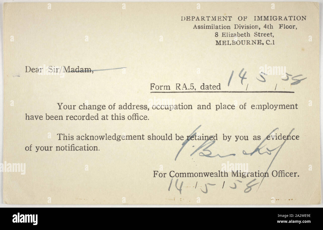 Card - Change of Address, Department of Immigration, 14 May 1958, Card issued by the Department of Immigration, dated 14 May 1958. It acknowledges notification of change of address, occupation and place of employment, it was issued to Bretislav Lukes. The reverse side of the card records Bretislav's address as 48 Pennell Ave St Albans. Born 12 January 1922 in Stankou in Czechoslovakia, Bretislav migrated to Australia on the Goya in 1950 and was sent to Stock Photo
