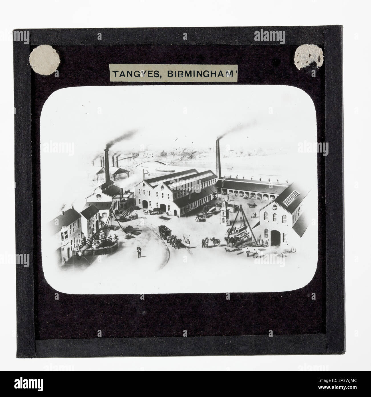 Lantern Slide - Tangyes Ltd, Cornwall Works Illustration, 1869, One of 239 glass lantern slides depicting products manufactured by Tangyes Limited engineers of Birmingham, England. The images include various products such as engines, centrifugal pumps, hydraulic pumps, gas producers, materials testing machines, presses, machine tools, hydraulic jacks etc. Tangyes was a company which operated from 1857 to 1957. They produced a wide variety of engineering Stock Photo