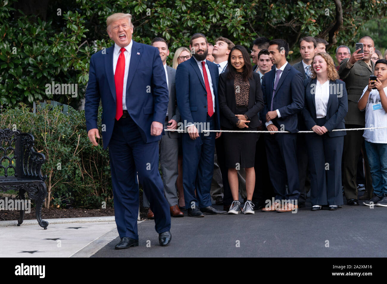 """Washington, United States Of America. 03rd Oct, 2019. United States President Donald J. Trump returns to the White House in Washington, DC after signing an executive order in The Villages, Florida """"Protecting and Improving Medicare"""" for senior citizens on Thursday, October 3, 2019.Credit: Chris Kleponis/Pool via CNP 